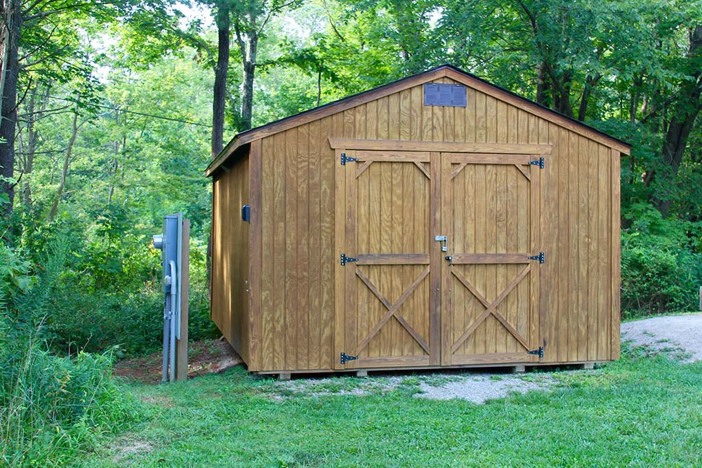 Wooden shed in a backyard