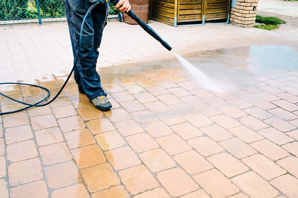 Power washing a home