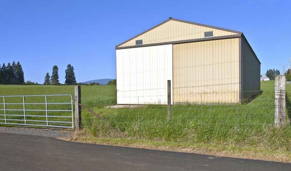 Large storage shed in a field Oregon.